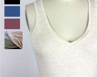 Simple Reversible Tank Top - Bamboo Eco stretch jersey camisole - Black, Stellar blue, Rose Brown, Dusty Rose, Heather Gray