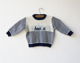 Vintage Toddler Sweater / Kids Train Sweater