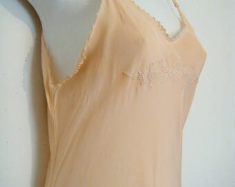 earlier vintage 1920's peach pink night gown slip with white embroidery, size m