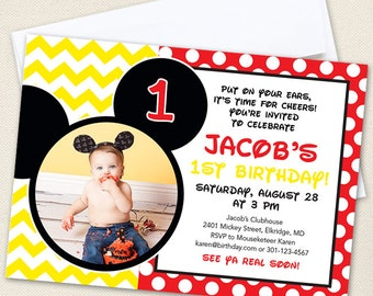 Mickey Mouse Party Photo Invitations - Professionally printed *or* DIY printable