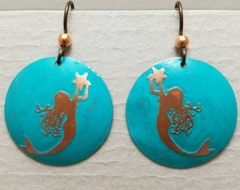 Etched Copper Mermaid with Star Earrings