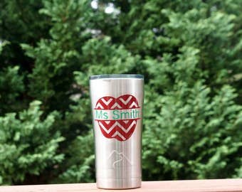 Personalized 20 oz Ozark insulated tumbler and lid with chevron apple and name - Great Teacher appreciation Gift