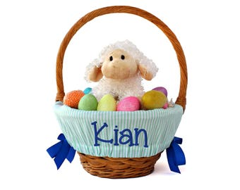 Boy easter basket etsy personalized easter basket liner mint pin stripes basket not included personalized with name negle Image collections