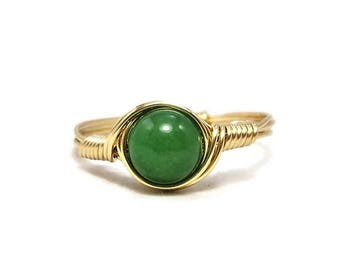 Green Jade 14k Yellow Gold Filled Wire Wrapped Ring Custom Sized
