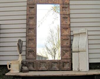 Vintage Ceiling Tin Mirror. Large Bathroom Mirror. Rusty Metal. Rustic wall mirror. Large industrial mirror. Old weathered paint.