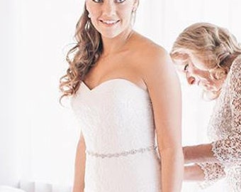 Bridal Dress Gown Beaded Jeweled Crystal Sash Belt