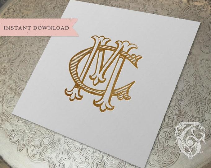 Vintage Wedding Monogram MC CM Digital Download M C