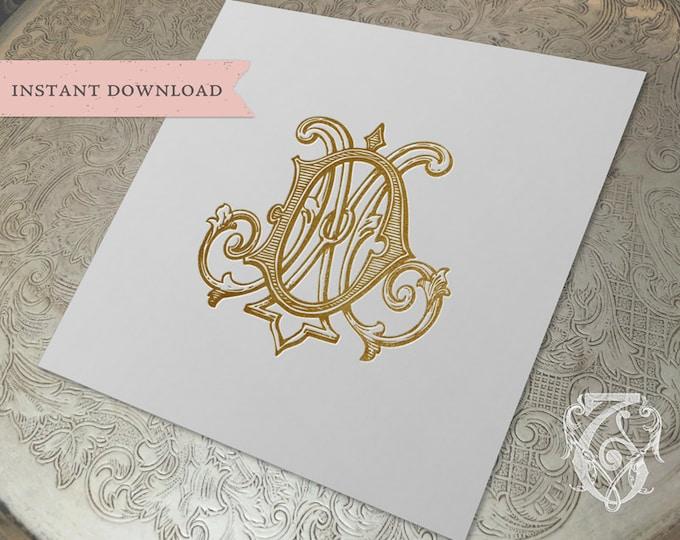 Vintage Wedding Monogram DM MD Digital Download M D