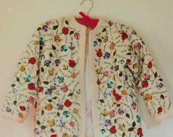 Size XS... 1960s Angora Blend Cardigan... 60s Vintage... Embroidered Flowers