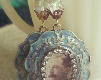 Victorian Man Steampunk Photograph Jewelry Dangle Earrings Upcycled Recycled Assemblage