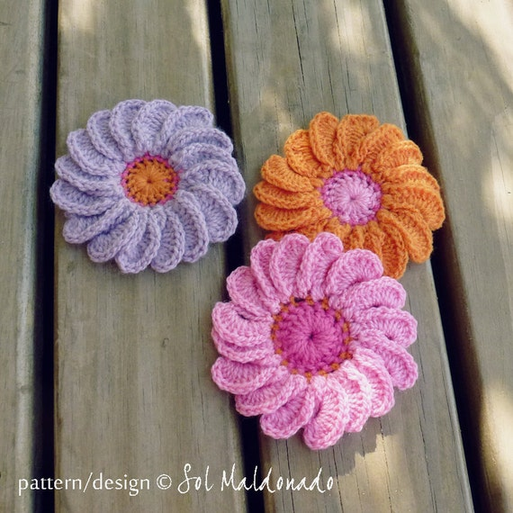 Crochet Flower Patterns Free Beginners : PDF Crochet Flower Pattern Gerbera Easy beginner Photo