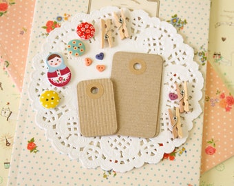 Ribbed Kraft Brown reinforced Rounded Midi Tags