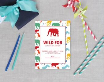 Preppy Safari Animal Silhouette Childrens Birthday Party Invitations   Jungle Theme   Zoo Birthday   Boy Girl Birthday   Set of 10