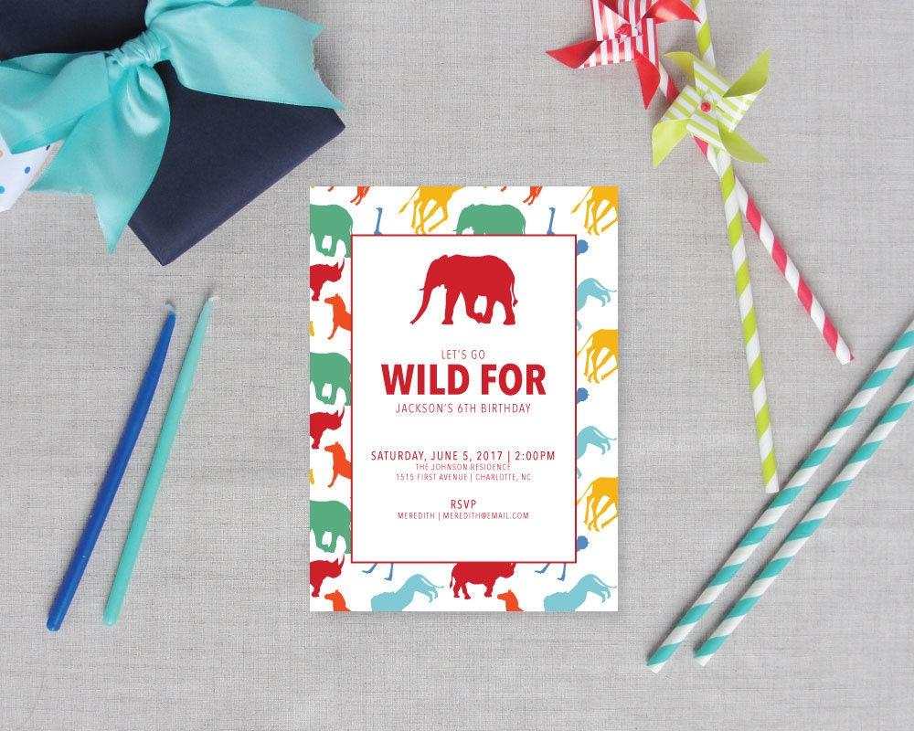 Preppy Safari Animal Silhouette Childrens Birthday Party Invitations ...