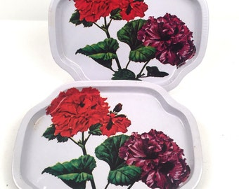 Vintage 1960s 2 Piece Serving Tray Set Made in Hong Kong