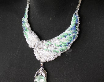 Spring bird wings glass beads  necklace embroidery with glass pedant
