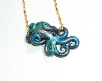 Galaxy octopus necklace, opalescent, sparkly, glitter, starry night, outer space, stars, cosmic