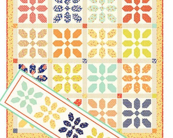 Merry Go Round Quilt Pattern - Fat Quarter Friendly Quilt Pattern - Quilt and Table Runner Pattern - Fig Tree & Co. - Joanna Figueroa