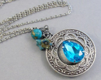 December Turquoise,Turquoise Necklace,Blue Topaz Necklace,Blue Topaz Locket,Blue Topaz Jewelry,Topaz,Birthstone Necklace,valleygirlde