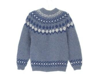 Nordic Sweater * Vintage Wool Sweater * Pattern Yoke Pullover Sweater * Medium / Large