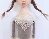"""Folk Art Doll cloth and paperclay primitive style 24"""" long"""