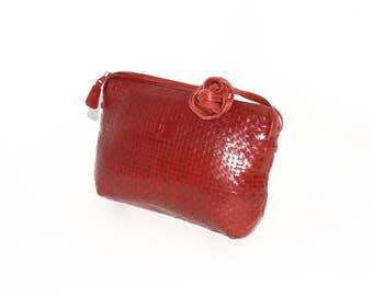Vintage FENDI Handbag Red Leather Woven Crossbody Bag -Authentic-
