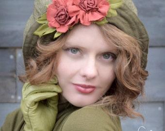 Green Cloche Hat, Wide Brim Floppy Bucket Hat, Peasant Hat, Shabby Chic Orange Flowers