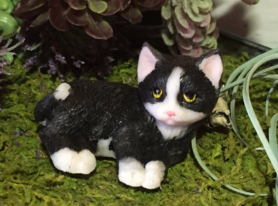 Mini Kitten Figurine, Black and White, Fairy Garden Accessory, Home Decor, Topper, Gift, Kitty Cat Figurine Laying Cat