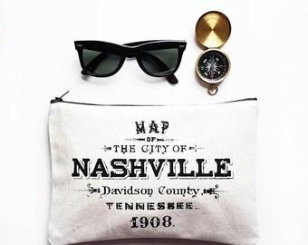 Nashville Zipper Pouch Tennessee Gift Vintage Map Zip Clutch Makeup Bag Purse Black Cotton Canvas Womens Accessories Wholesale