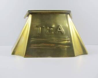 Antique Edwardian Brass Tea Caddy / Tea Chest