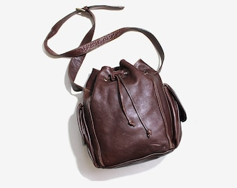 Vintage Bucket Bag / Brown Leather Bucket Bag / Drawstring Purse / Italian Leather Bag
