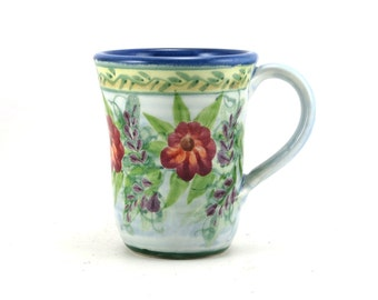 Blue Porcelain Coffee Mug - Floral Design Blue Background With Red Flowers - Hand-Thrown, Bisque Fired, Ceramic Glazed Tea Cup