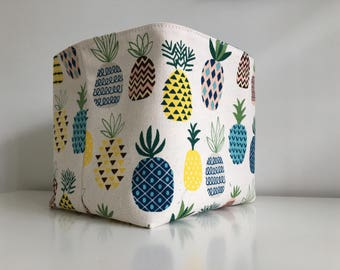 Pineapple Fabric Basket in Yellow, Blue and Green on Natural