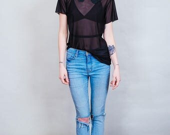 Cakewalk - Sheer black shirt with peter pan lace collar - mesh bohemian 70's style