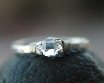 Ring Size 4.5 Micro Crystal Dazzler Ring © Herkimer ring, raw quartz crystal, solitaire, diamond alternative,Lemurian Diamond, Bibi