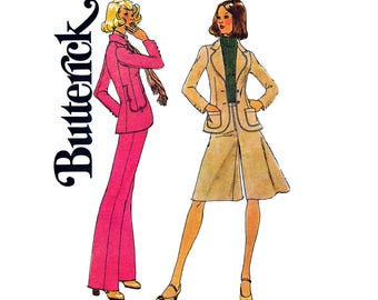 70s Boho Jacket Pants Gauchos Pattern Simplicity 7129 Culottes Flares Curved Blazer Vintage Sewing Pattern Size 10 waist 25 inches