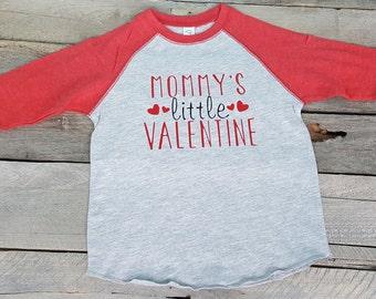 Toddler Valentine Raglan Shirt Mommy's Little Valentine Vinyl Boy Girl Children Monogrammed