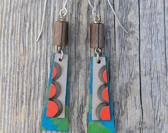 MODERN POPPY / Wood Earrings / Women's Jewelry / Gifts For Her / Sustainable / Earrings / Acrylic Painting / Art