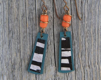 ORANGE YOU GLAD / Wood Earrings / Women's Jewelry / Gifts For Her / Sustainable / Earrings / Acrylic Painting / Art / Art Jewelry
