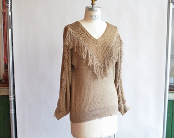 Vintage 1980s FRENCH RAGS fringed pullover