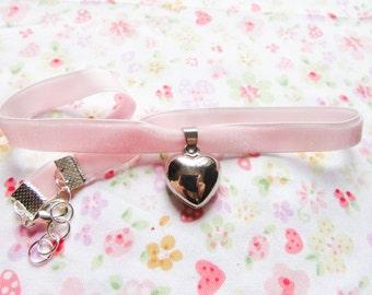 Kawaii/Cute Heart Charm Choker, Cute Choker, Kawaii Choker, Sweet Lolita, Choker Necklace, Pink, Velvet Choker