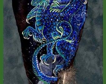 Malachite Winged Dragon Feather Print