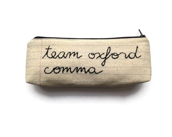 Team Oxford Comma Zipper Pouch Pencil Case - Makeup Bag - Notebook Paper Fabric - Handmade in NJ - Back to School Teacher or Student Gift