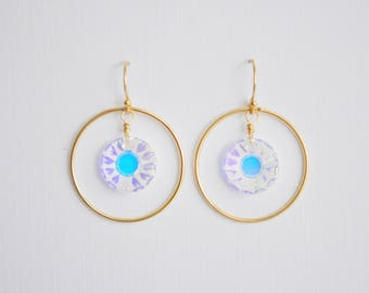 Sun Crystal Circle Earrings - swarovski 3 color choices handcrafted gold filled dangle french hook wedding and sparkle by adenandclaire