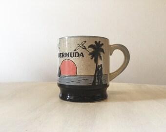 Vintage Bermuda mug, vintage souvenir mug, pottery mug, stoneware mug, retro kitsch mug, collectible mug, vintage tea mug, pottery tea mug,
