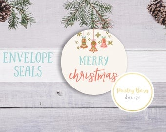 Vintage Ornament Stickers | Envelope Seals, Christmas, Thank you, Cards, gift