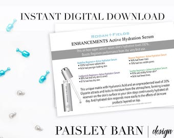 INSTANT DOWNLOAD 4x6 | Hydration Serum | Marketing and info card, prospect, sample, travel rodan and fields