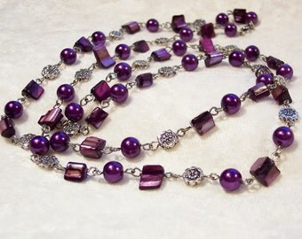 Purple Necklace, Mother of Pearl Necklace, Small Nuggets, Purple Glass Pearls, Silver, Lariat Rope Necklace, 38 inch Long Necklace
