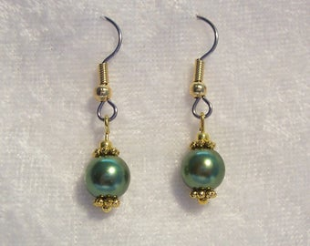 Green Earrings, Green Pearl Earrings, Glass Pearl Earrings, Dangle Earrings, Gold Earrings, Single Pearl Earrings, Clip ons Available