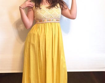 Vintage Canary Yellow Boho Couriers Dress // 1970s